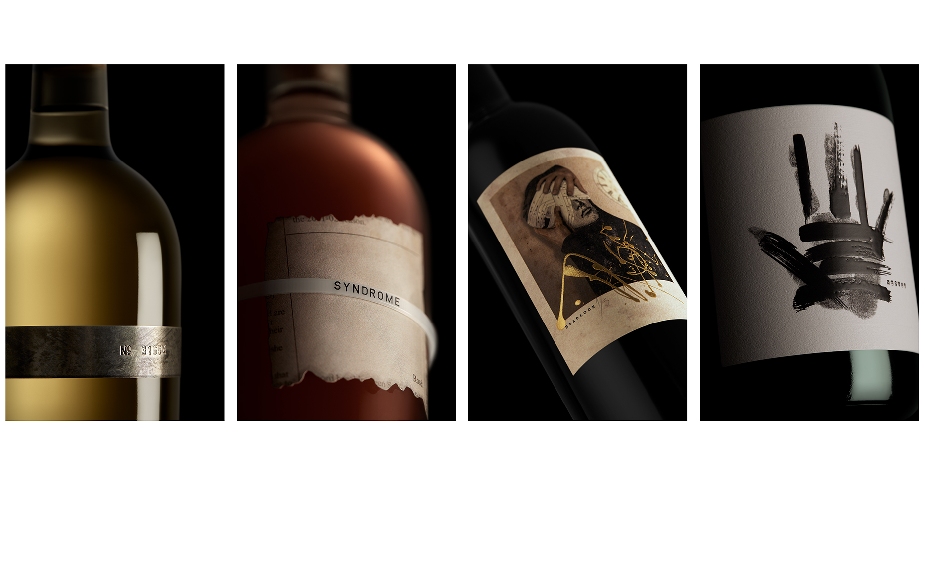 Red Productions Product & Still Life Photography Prisoner Wine Company Syndrome Rose, Headlock Red Blend, Erased Sparkling