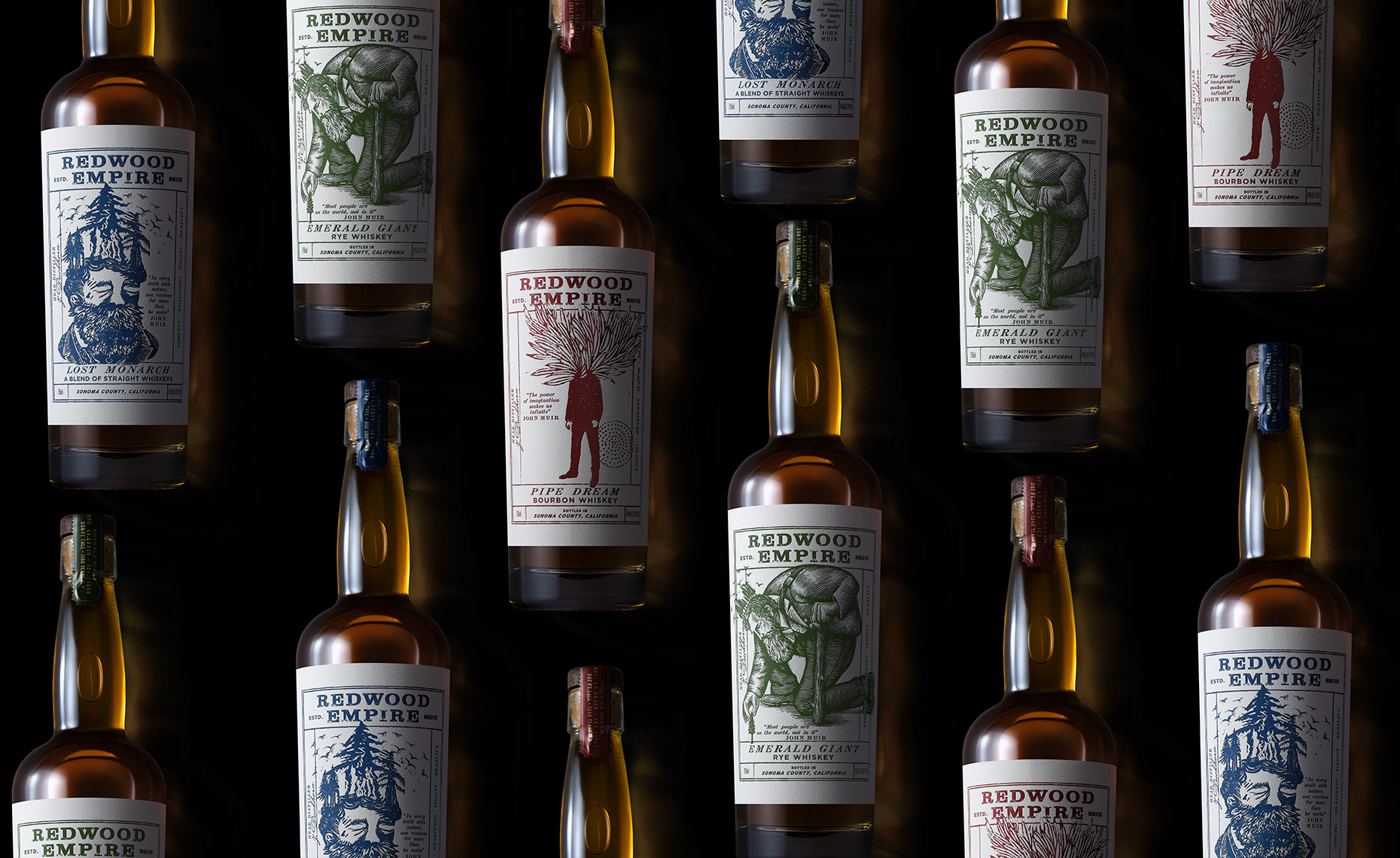Red Productions Product & Still Life Photography Redwood Empire Pipe Dream, Emerald Giant, Lost Monarch Bourbon Rye Whiskey
